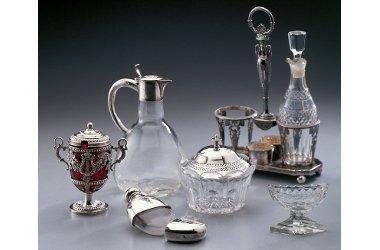 Glasmanufaktur von Poschinger / Glaseinsätze für Silbermonturen